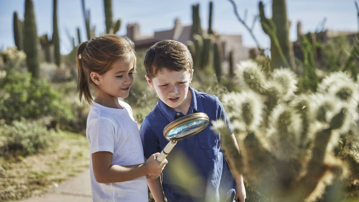 A little boy and girl investigate a cacti's arm with a magnifying glass
