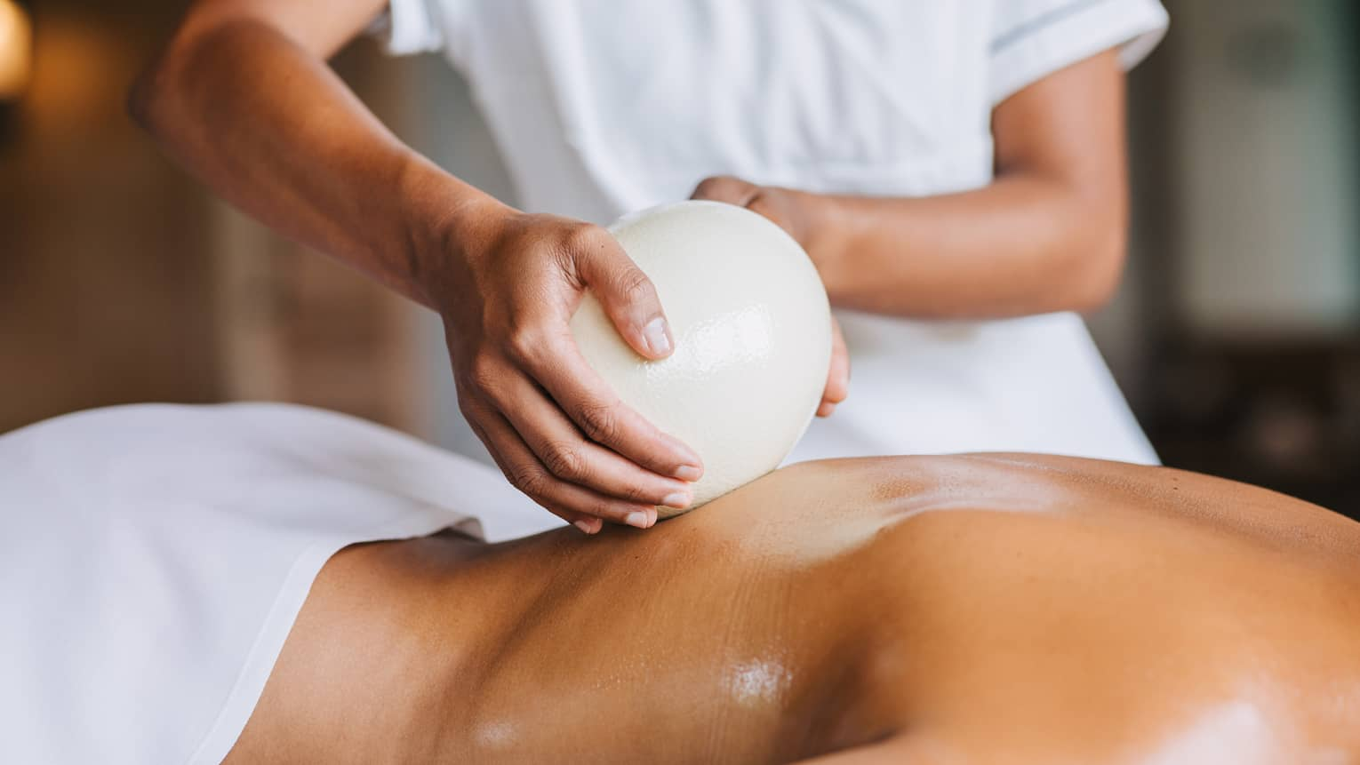 Egg used in a massage