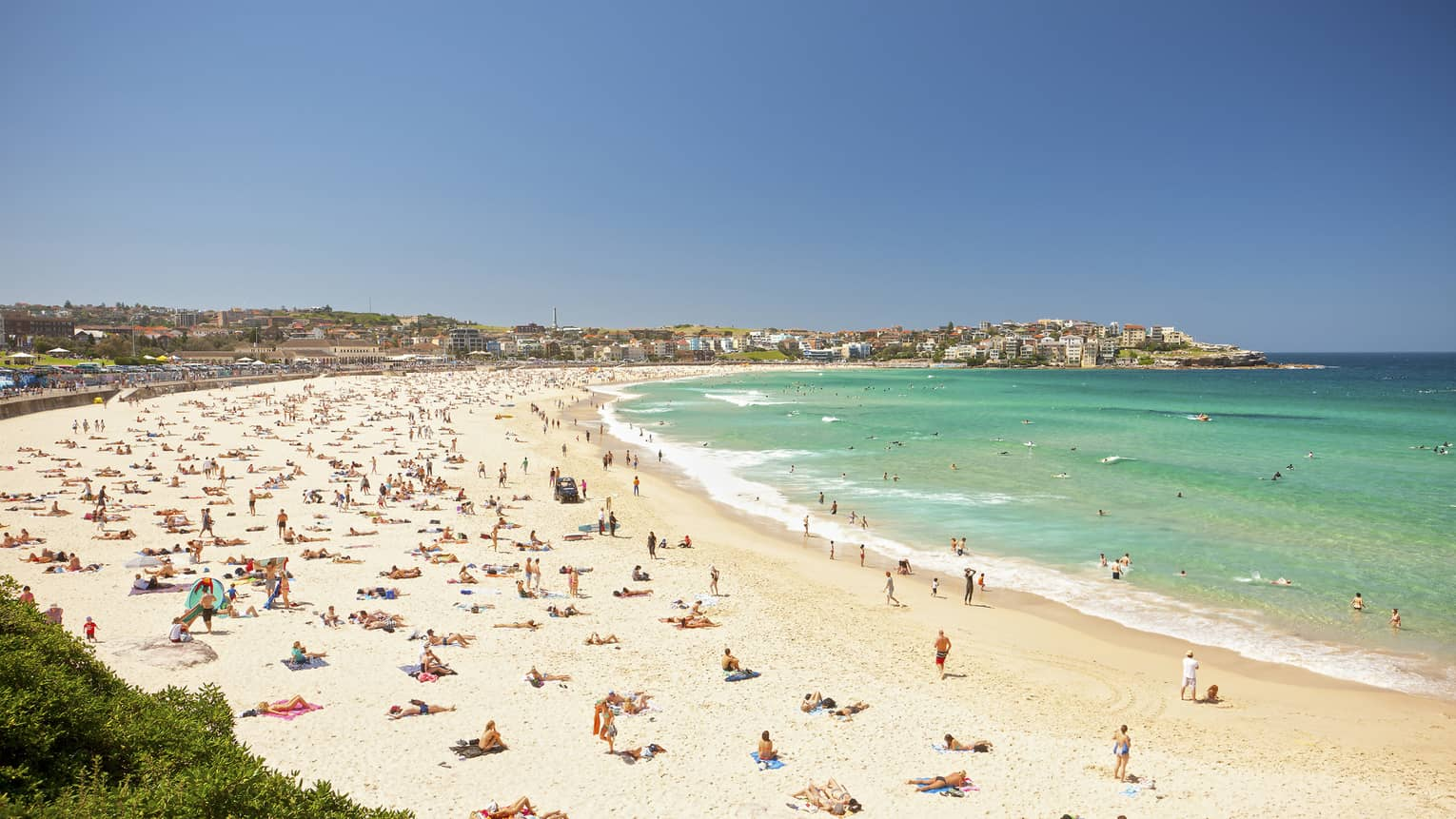 Aerial view of people sunbathing on busy Bondi Beach
