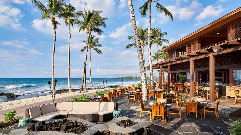 Ulu Ocean Grill Sunny Patio Dining Room Under Palm Trees Near Beach