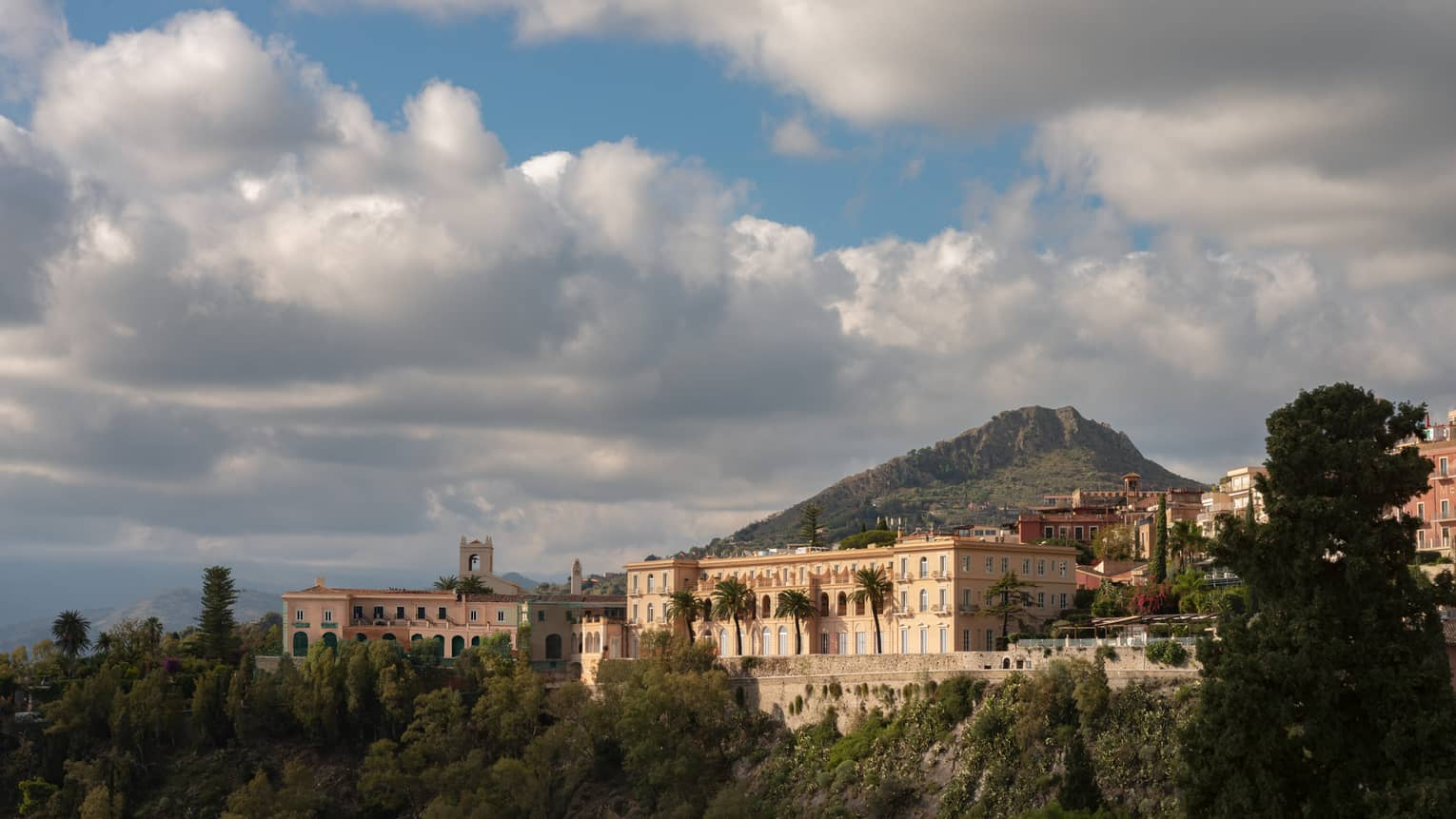 San Domenico Palace, Taormina, Sicily, perched on a green hill