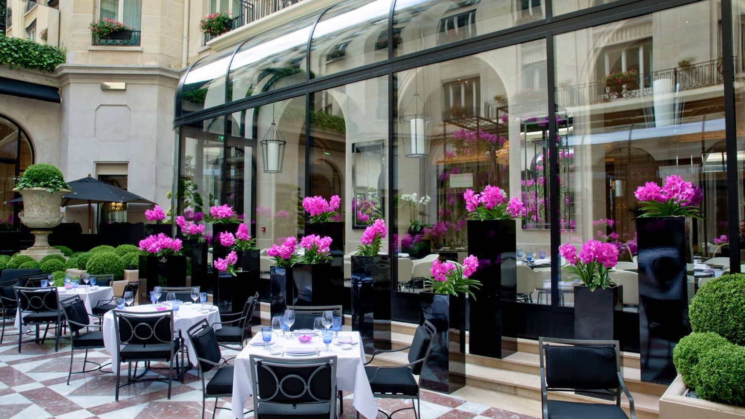 L'Orangerie courtyard patio, dining tables by purple flowers