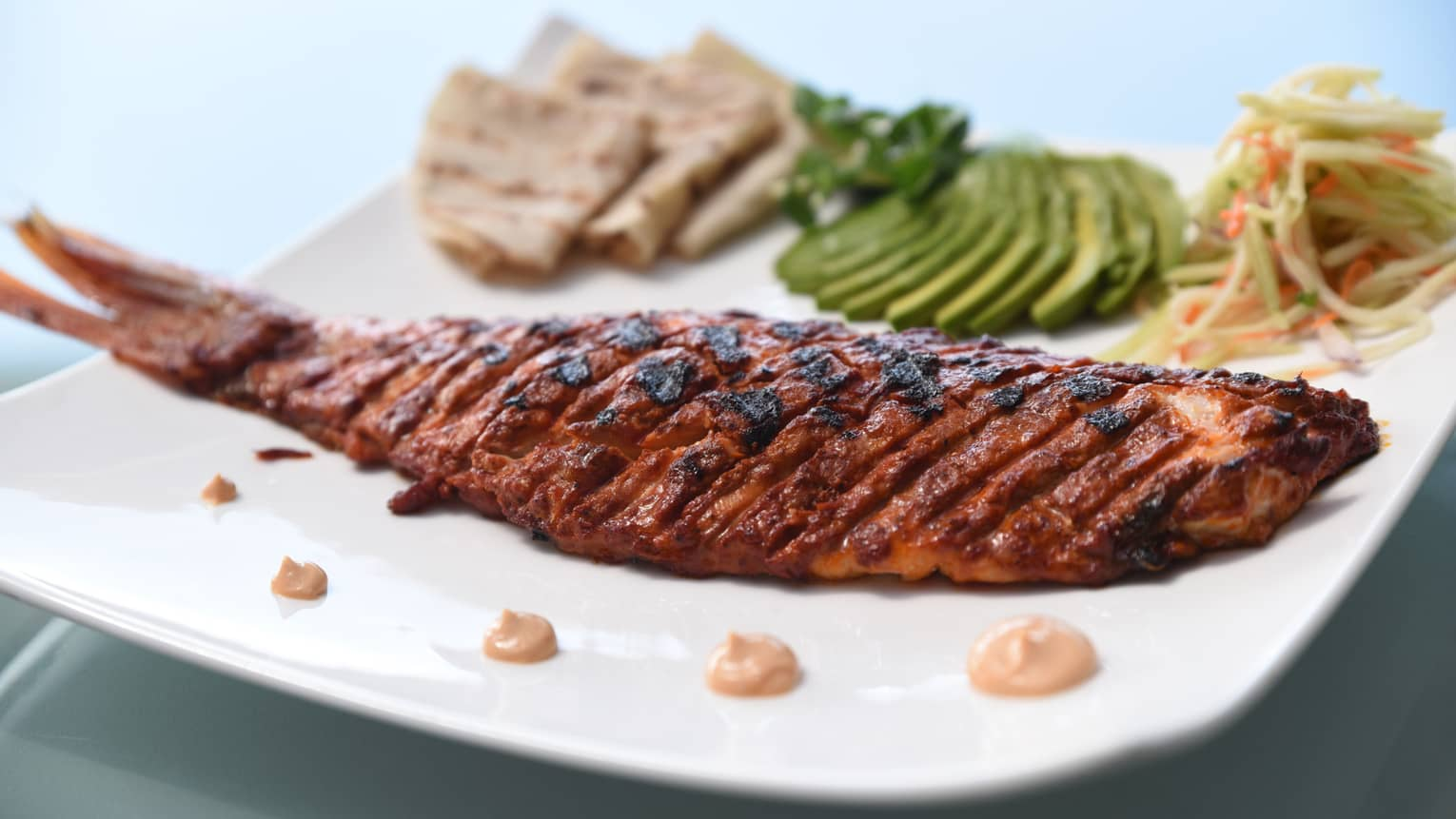 Barbecued fish on plate with sliced avocado, coleslaw, tortillas, dollops of sauce