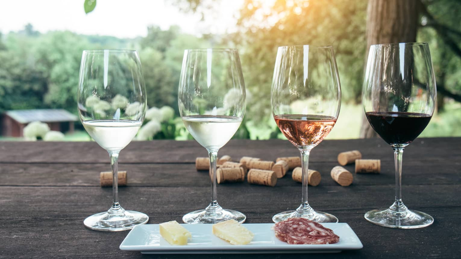 Tasting glasses of white, rose and red wine in row behind cheese platter on patio table, corks