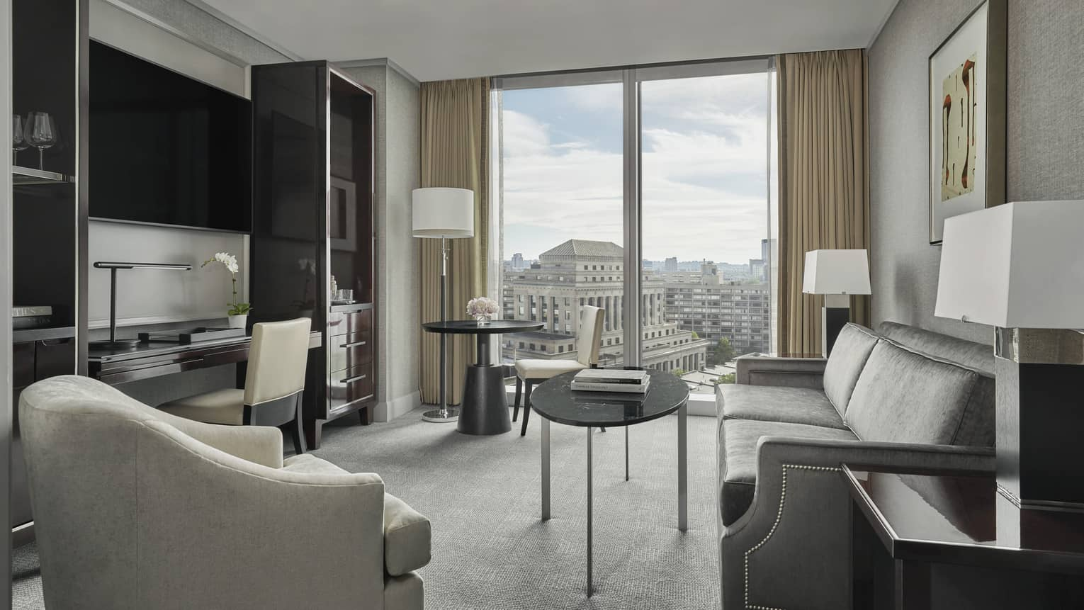 sitting area in the executive suite at four seasons hotel boston one dalton