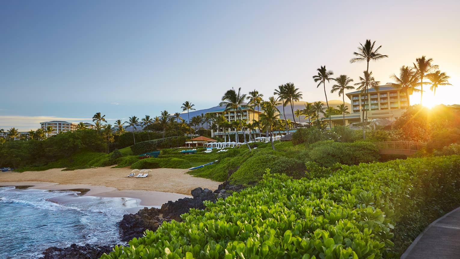 The Wailea beach shoreline and resort
