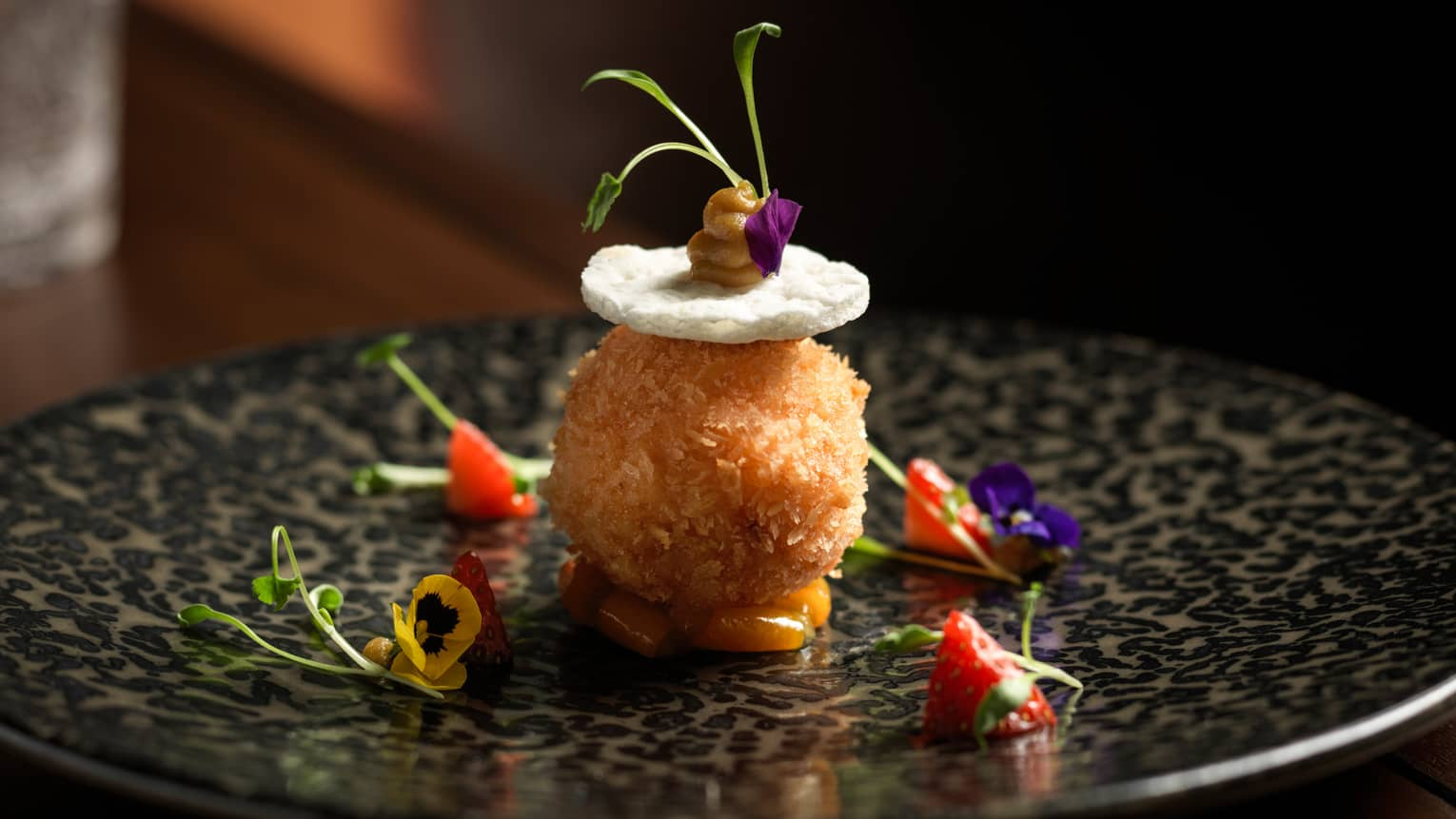 Mei Ume restaurant's croquette with pansies and strawberry tips