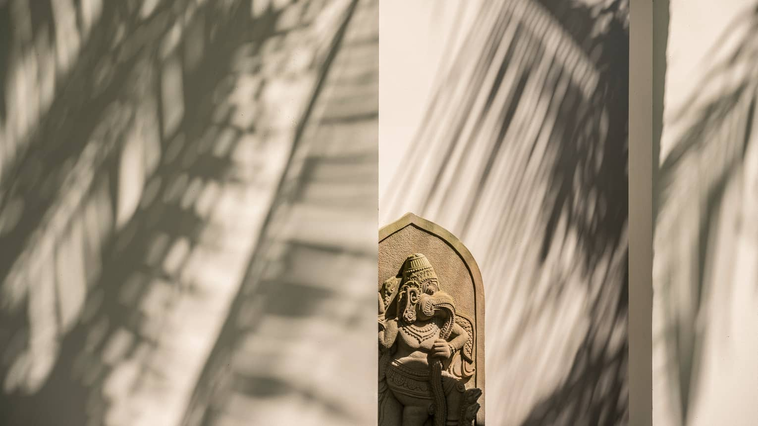 Stone carving on outdoor wall with shadows of palm fronds