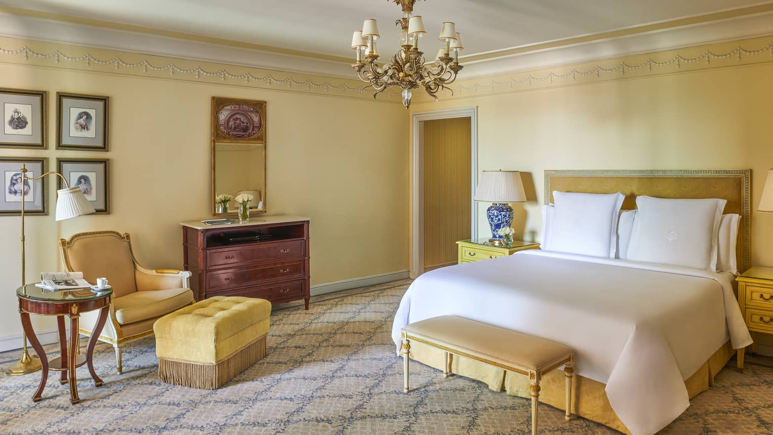 Yellow walls and furniture in the City View Room