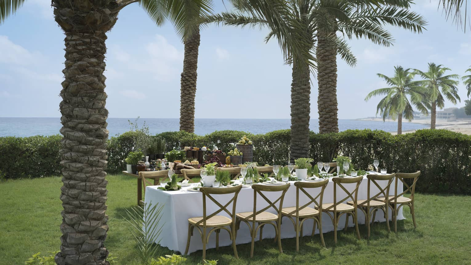A rectangular dining table set for an event sits on the grass, under palm trees, sea in the distance