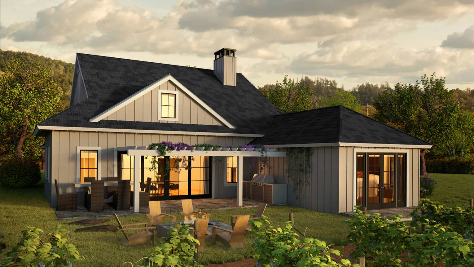 Rendering of four bedroom residence exterior with patio table on lawn by vineyard