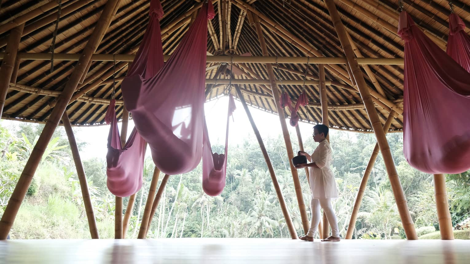 Sacred nap in aerial yoga slings
