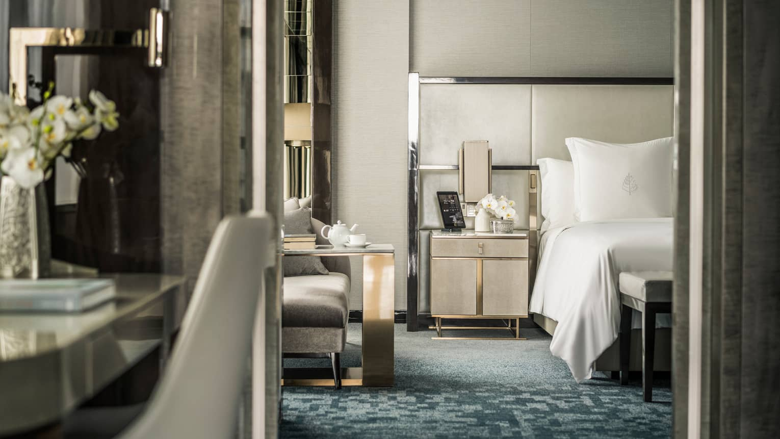 Ambassador Suite desk and view to bedroom