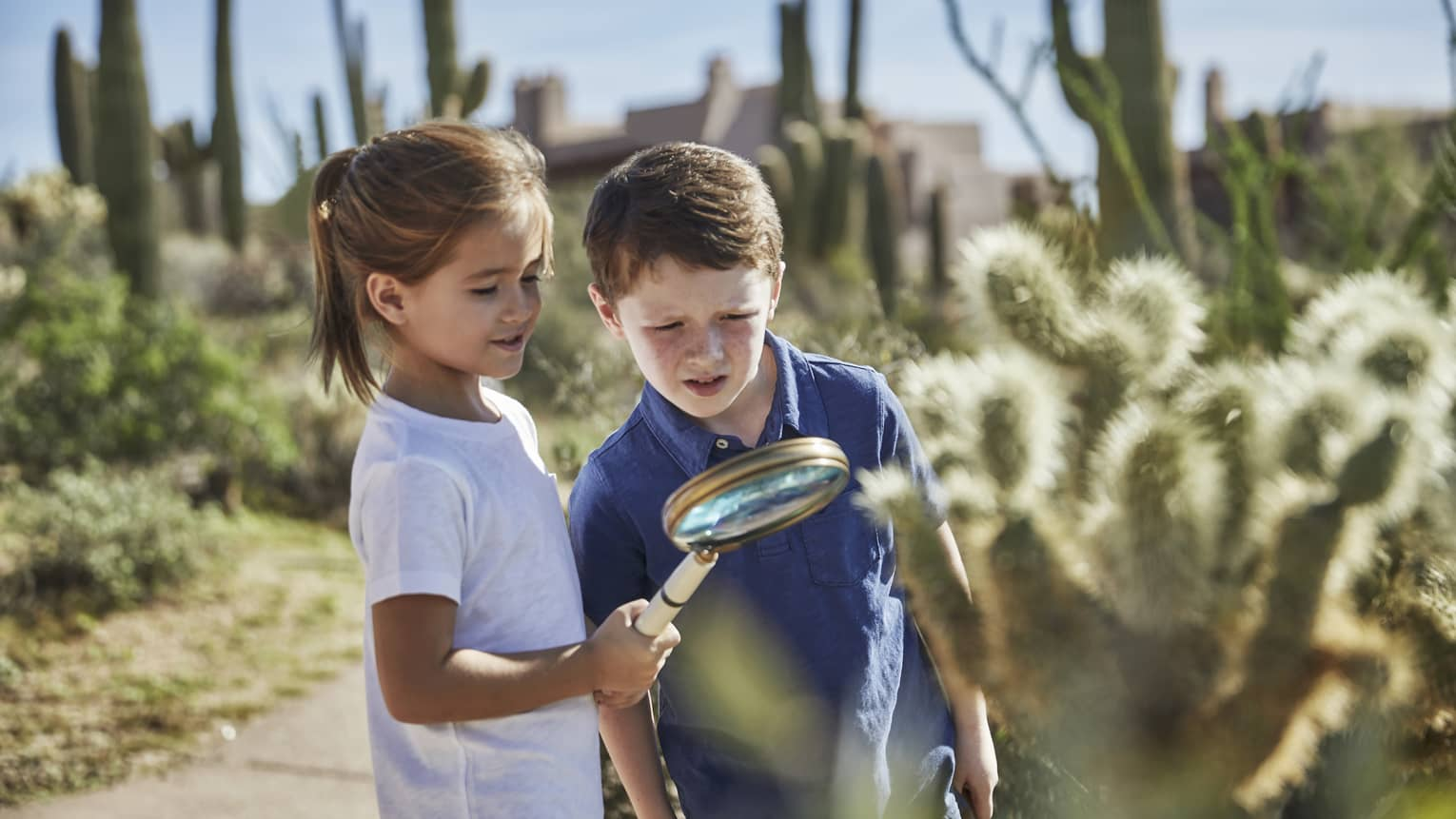 A young boy and girl inspect something near a cactus under a large magnifying glass, with desert landscape surrounding them.