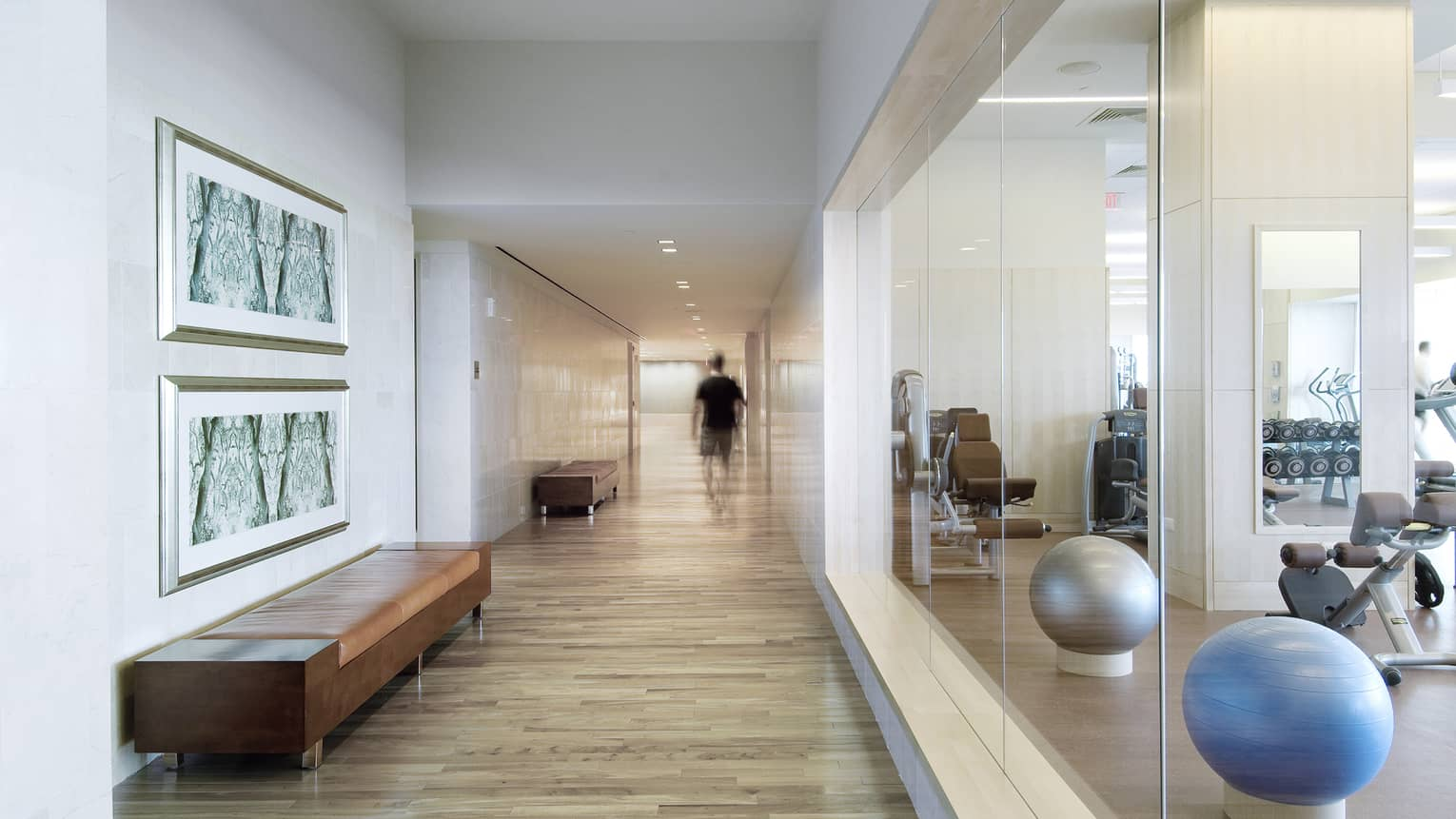 Fitness Centre hallway with bench, wood floors, glass window, pilates balls