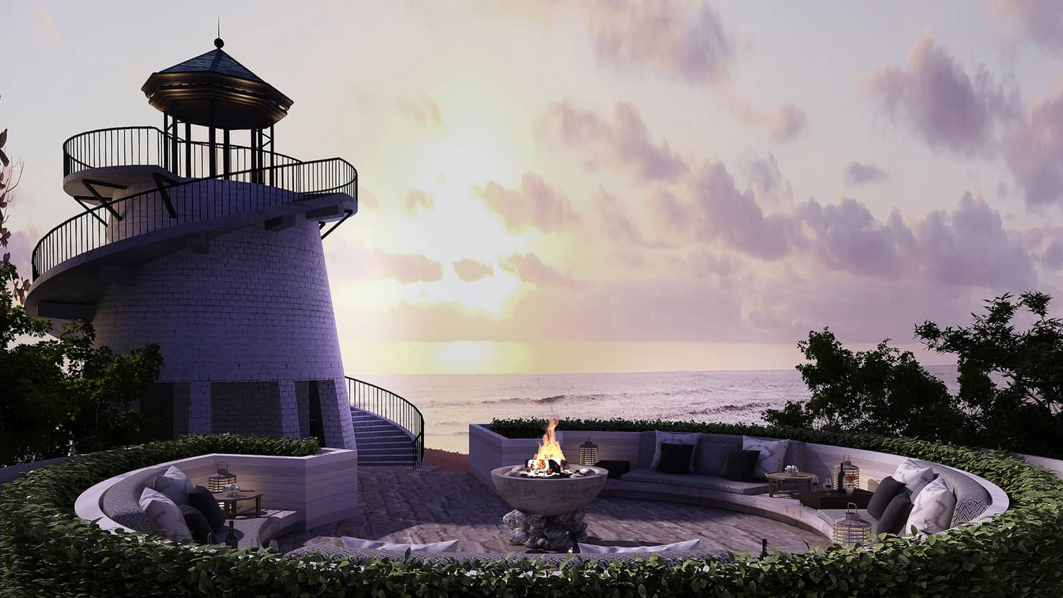Spiral staircase around small lighthouse leading to brick patio lounge with outdoor fireplace at dusk