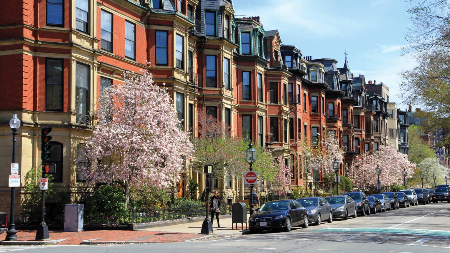 Cars are parked along a quaint residential street in boston