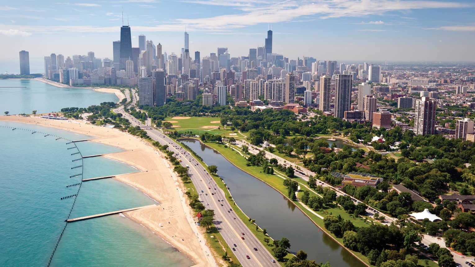 A beachfront view of Chicago on a sunny day