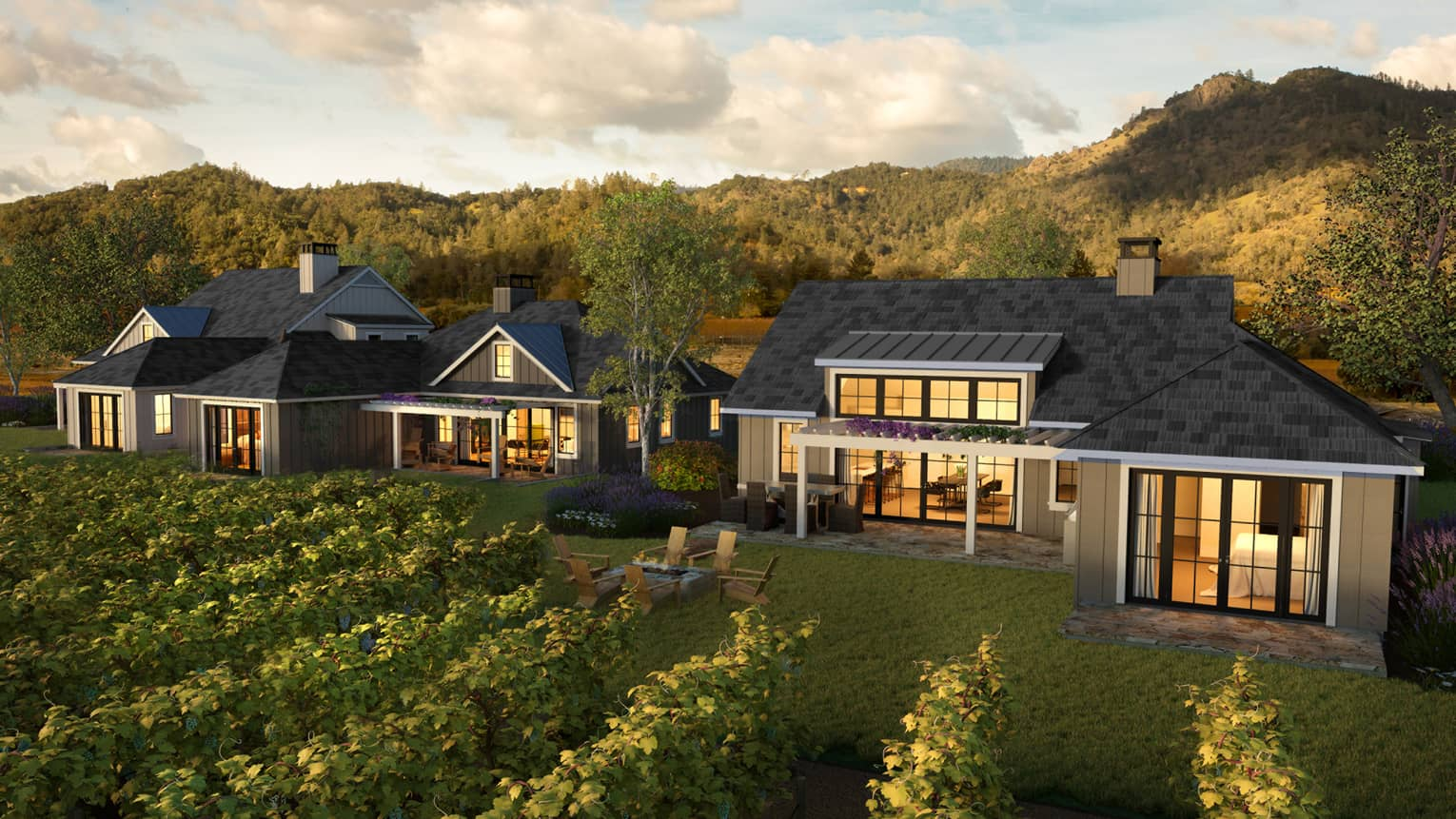 Rendering of view across vineyard to two residence exteriors in front of mountains