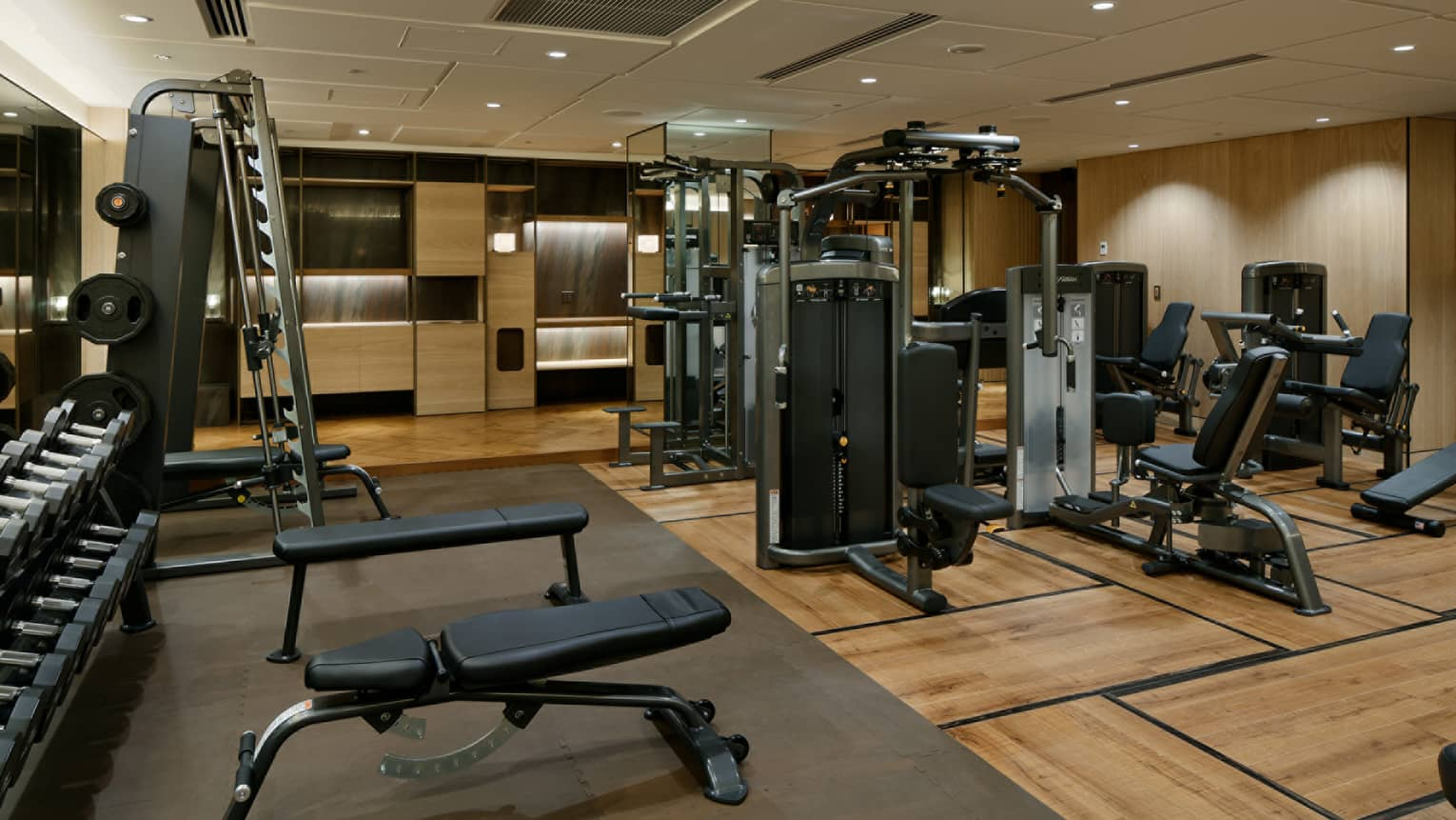 Weight stations, machines in spacious Fitness Centre