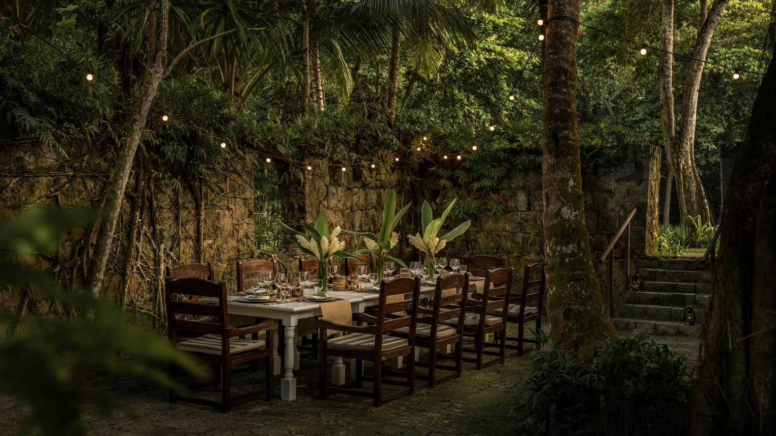 Wooden table with chairs outdoors surrounded by greenery and fairy lights at night