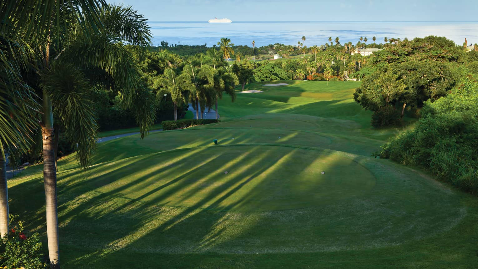 Looking down over golf course greens surrounded by tropical trees, palms