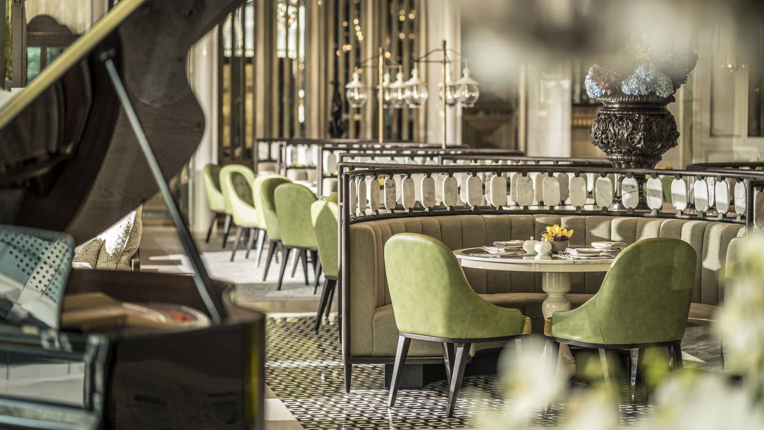 The Lobby Lounge piano and a table set for two