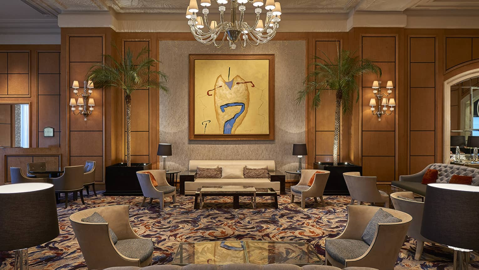 Lobby art gallery seating area displaying abstract painting by Egyptian artist Farouk Hosny