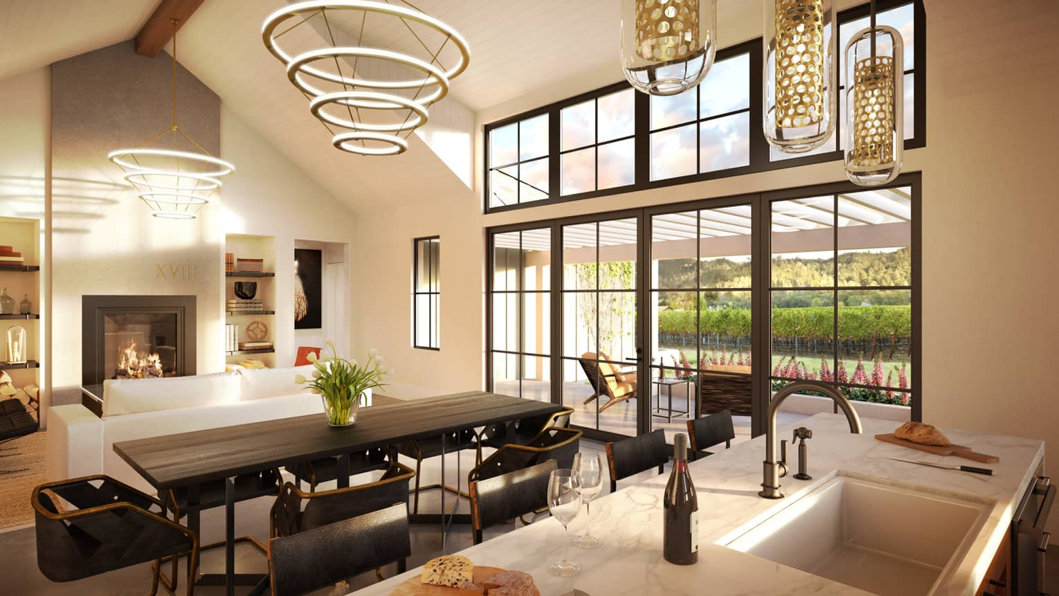 Modern lights, chandeliers over dining table, modern kitchen counter with cheese board, wine