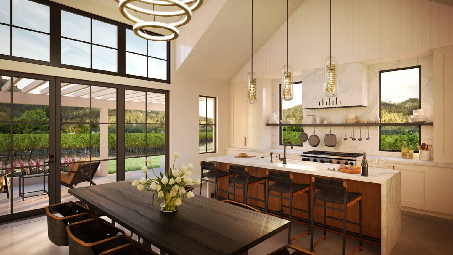 Rendering of open concept residence kitchen and greatroom under tall sloped ceiling, windows