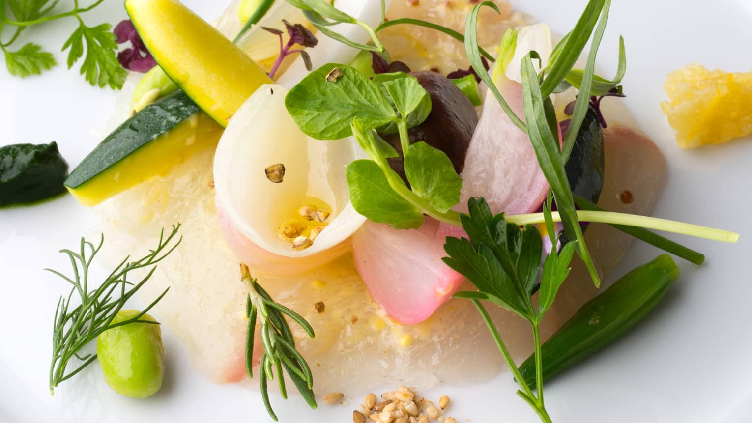 Close-up of pickled vegetables, fresh herbs, dressing on plate