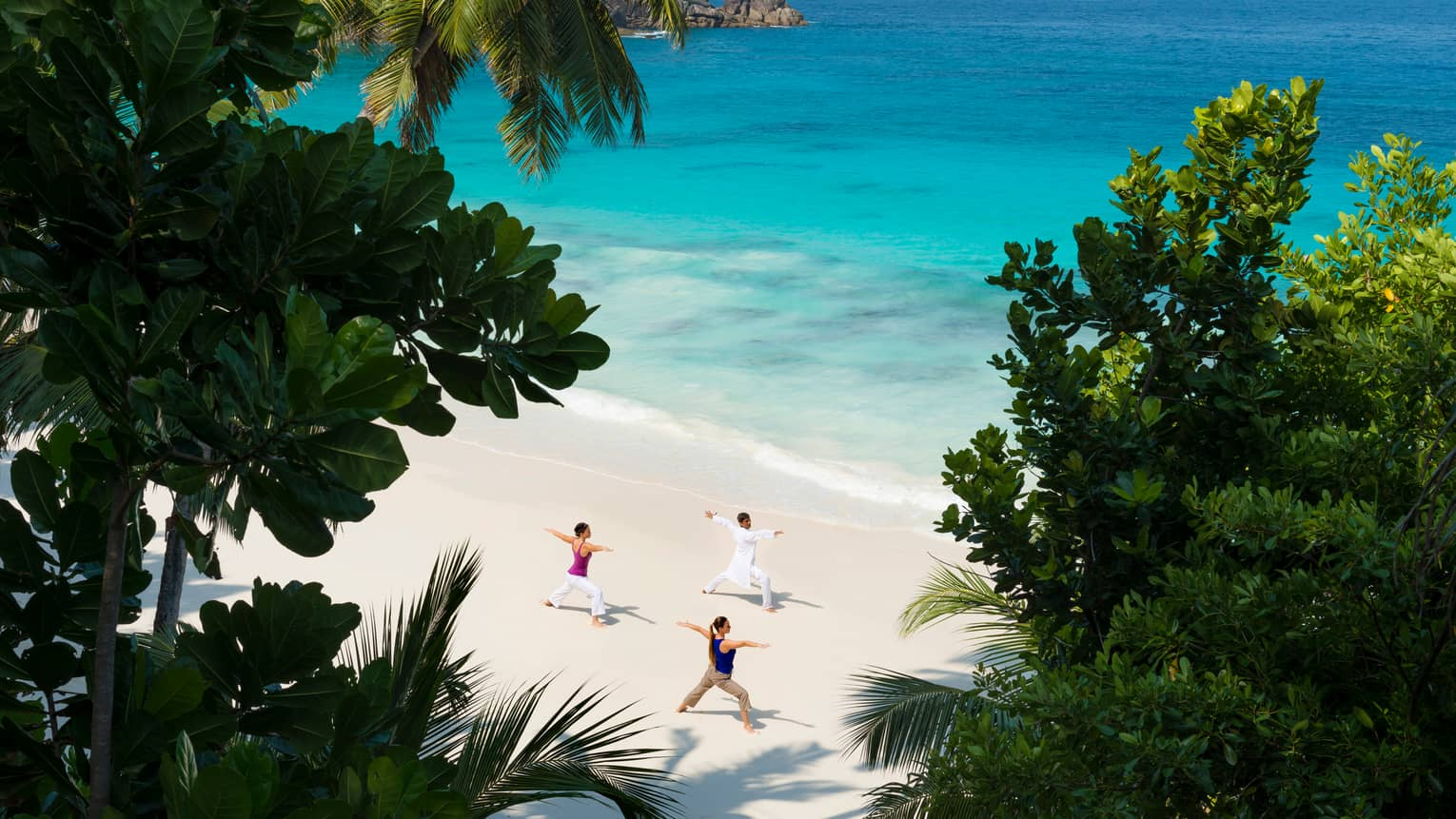 Aerial view of sandy beach through palm leaves where three people do yoga