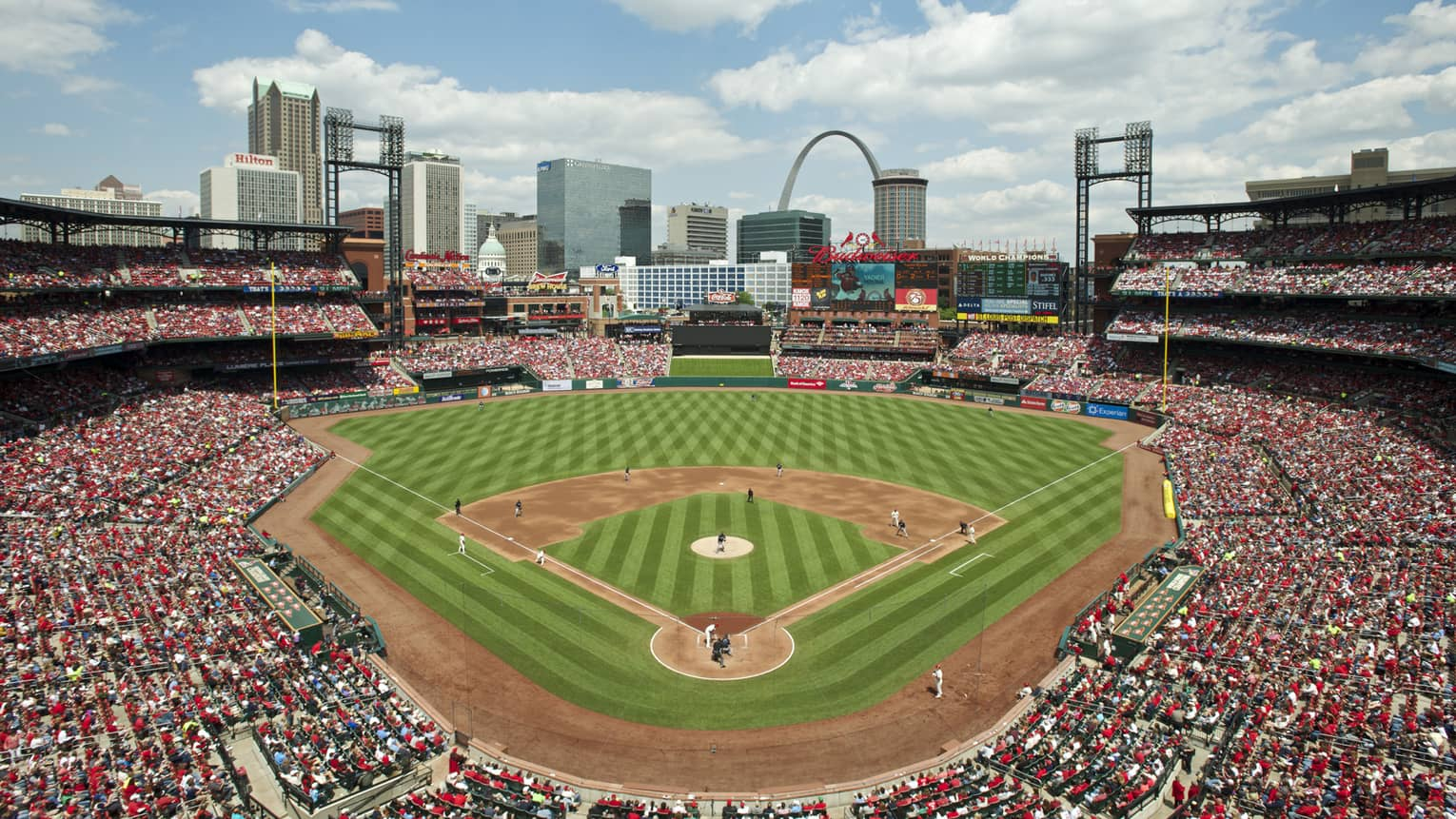 Aerial view of Busch Stadium baseball field, stands packed with crowds