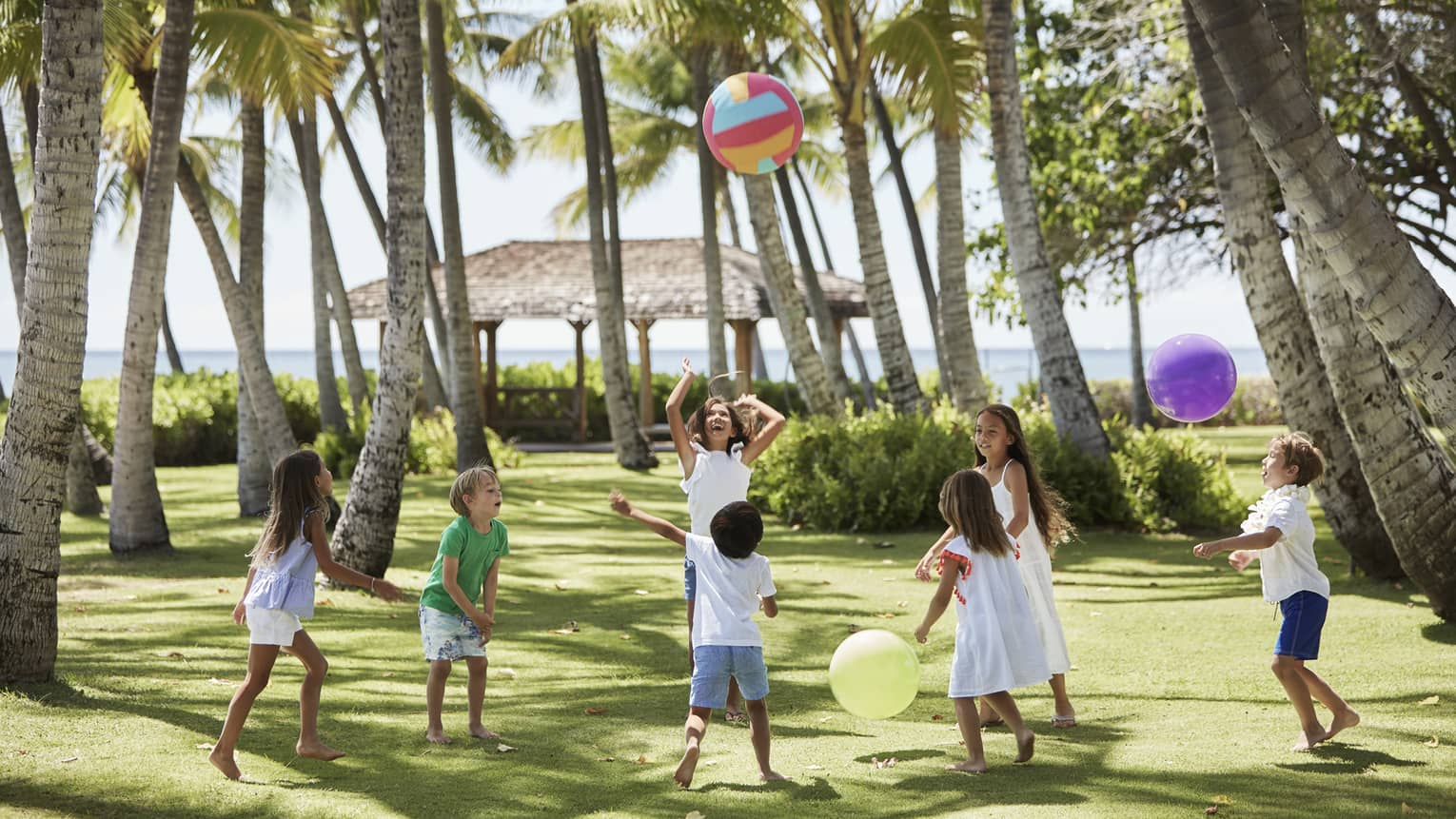 Group of children play with large colourful balls on green lawn under palm trees