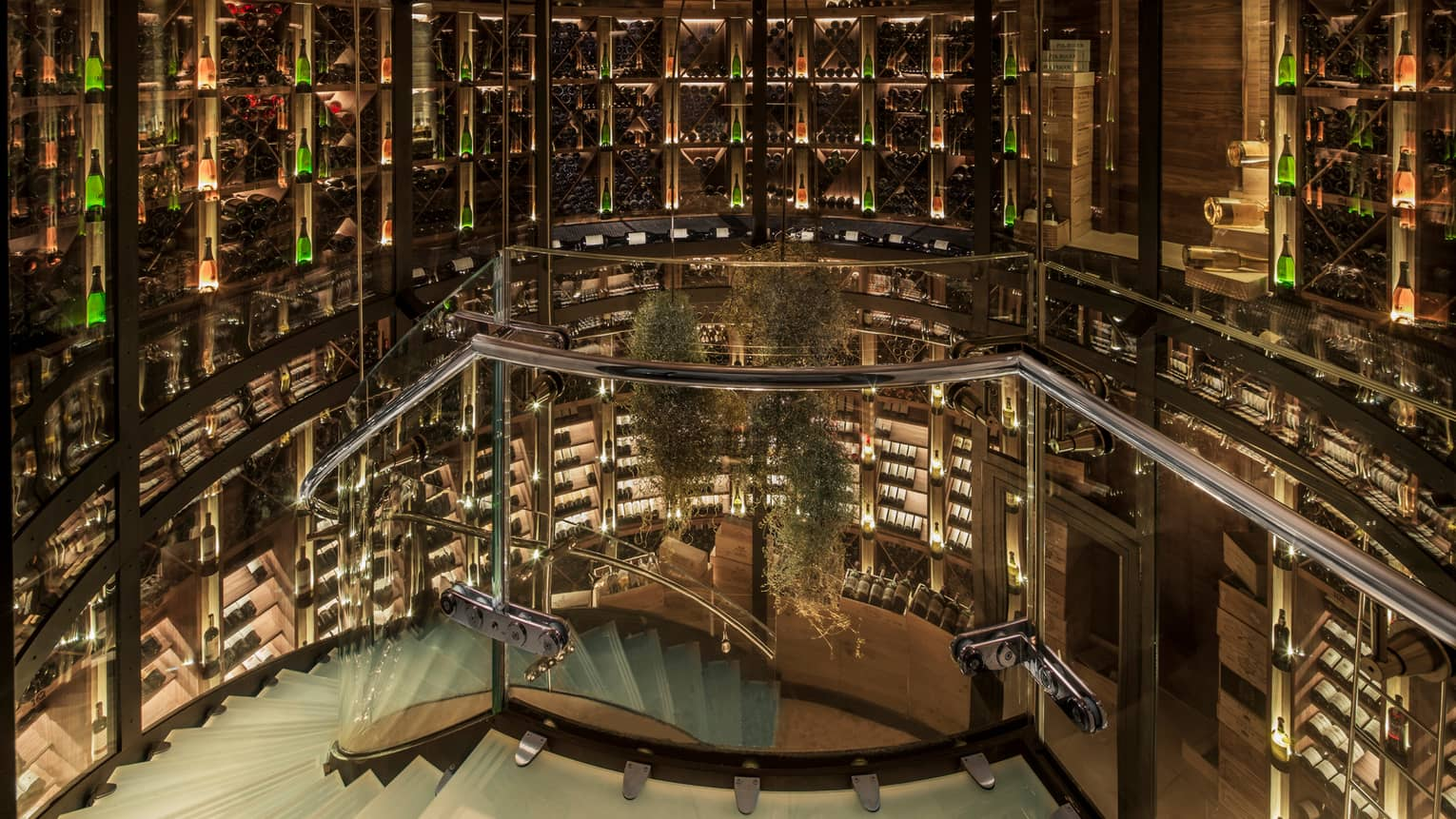 Spiral, glass staircase winding through multi-level wine cellar