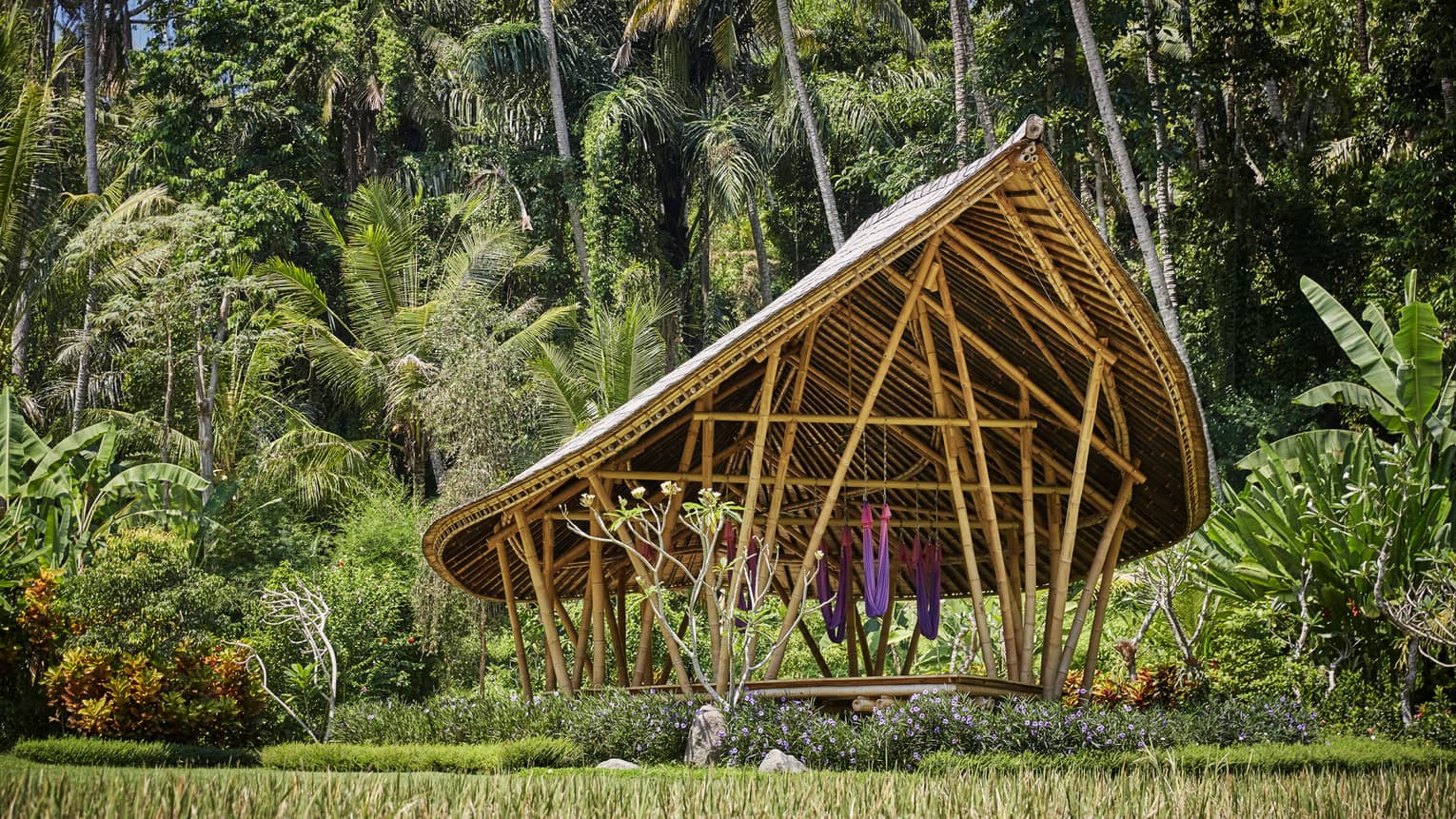 Dharma Shanti Bale meditation pavilion with modern-looking wood structure, colourful hammocks in tropical forest