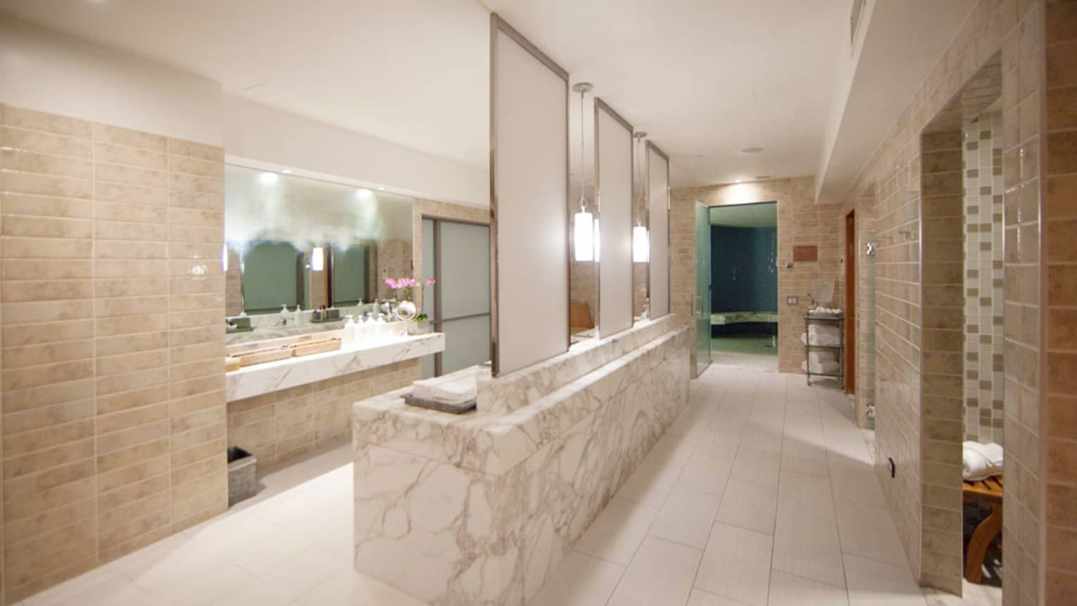 Long white marble spa change room