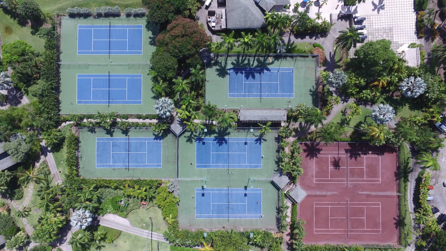 Aerial view of eight tennis courts surrounded by trees