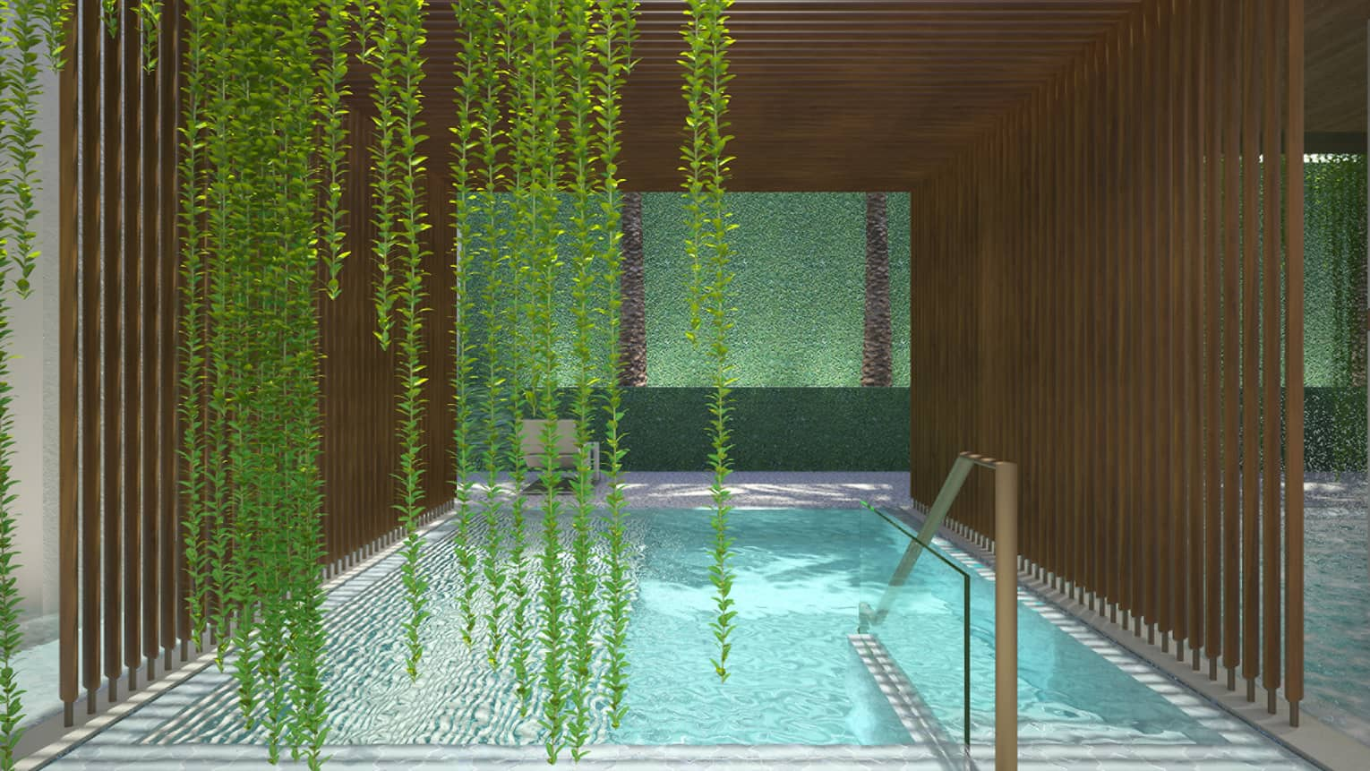 Rendering of lush green vines hanging in front of swimming pool under wood pergola