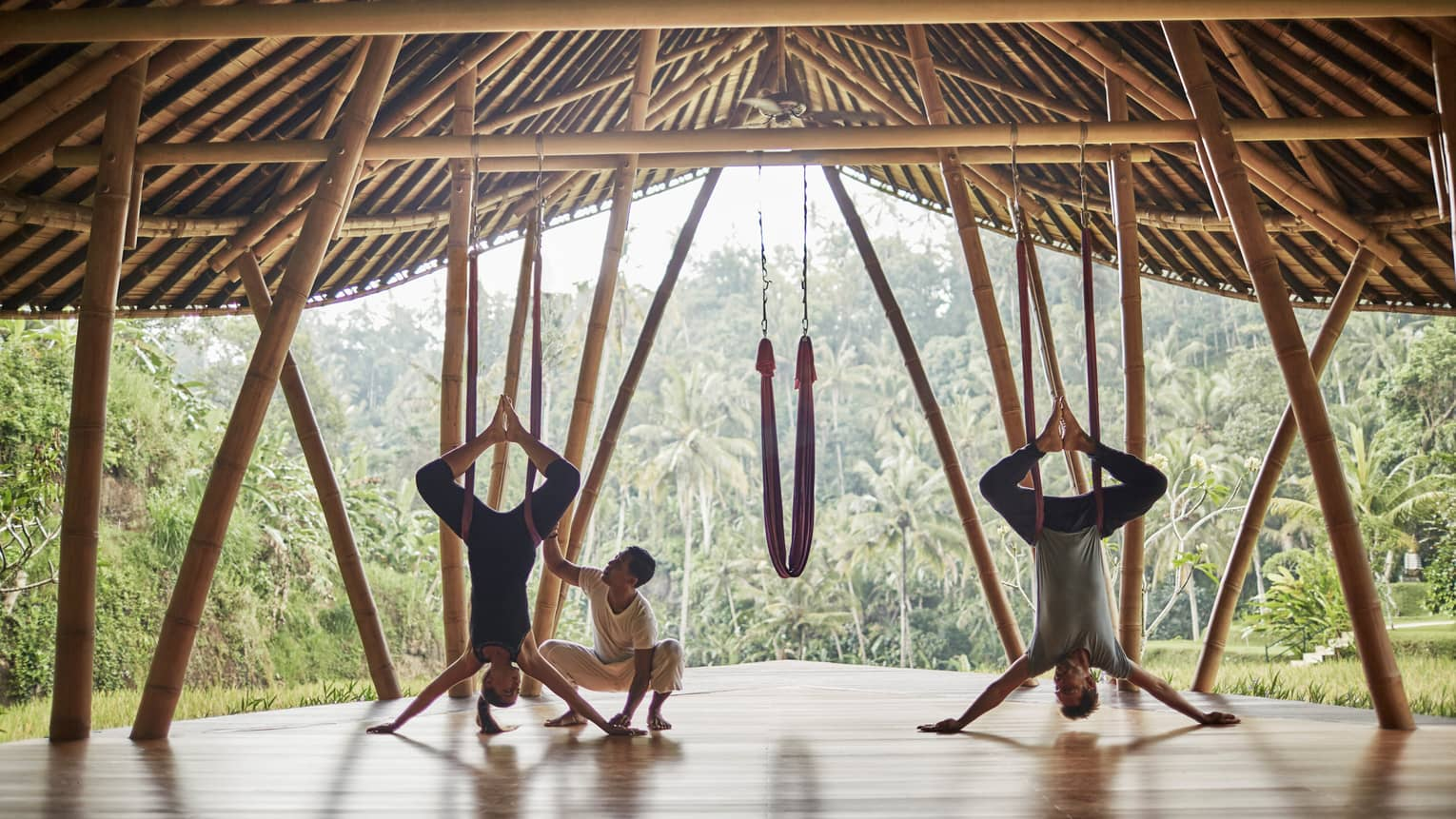 Antigravity Yoga at a yoga pavilion in Bali