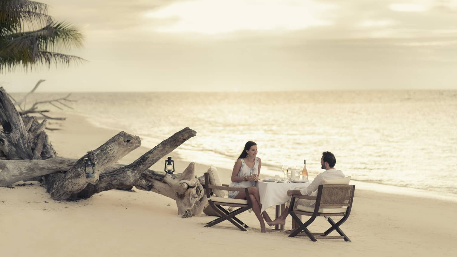 Couple enjoy romantic beach dinner by driftwood on sand beach at sunset