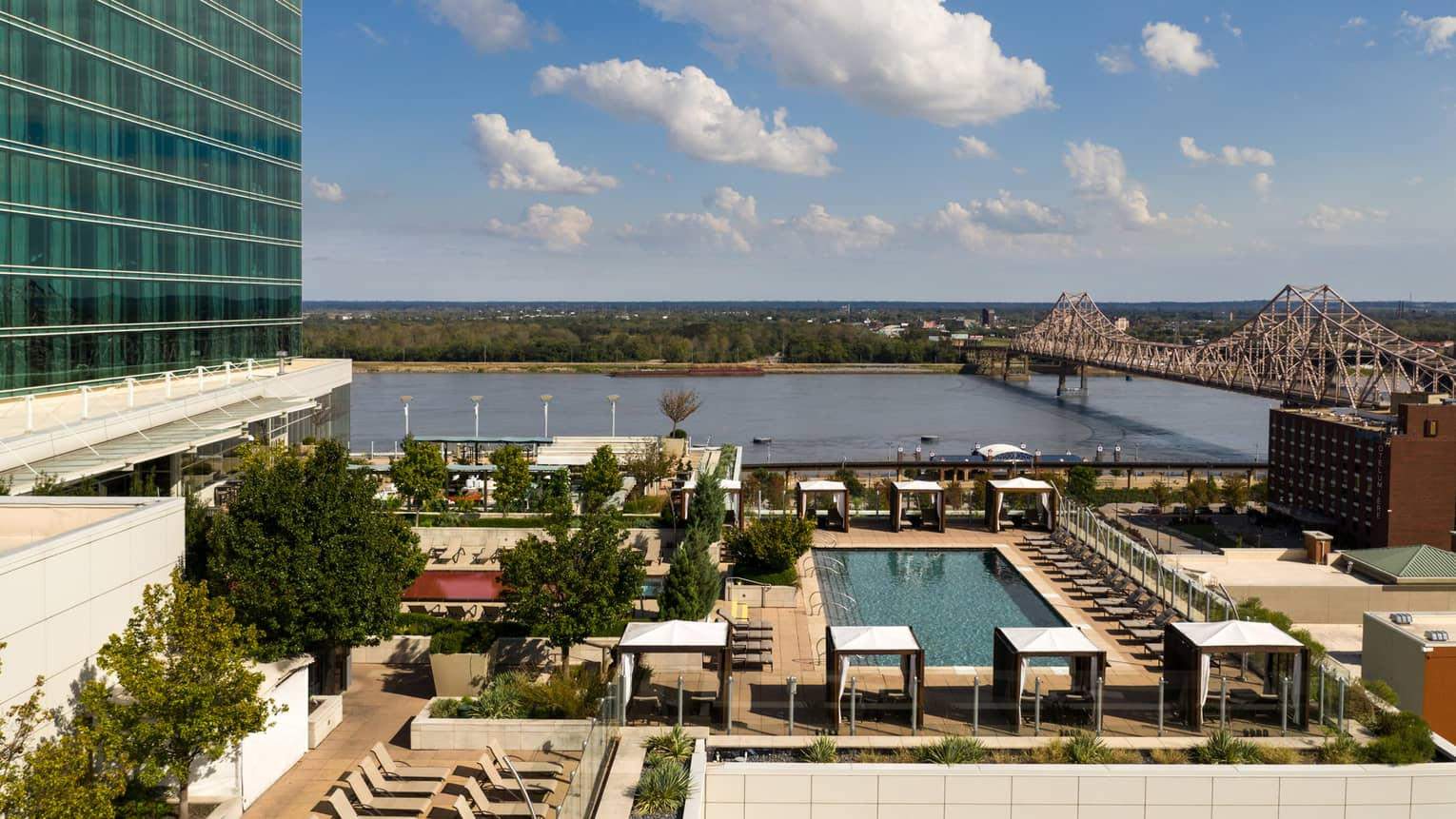 An aerial view of four seasons rooftop pool at four seasons saint louis