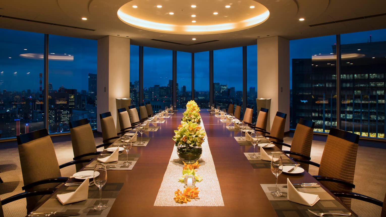 Long Executive Dining Room table under dome ceiling with lights, city lights through window