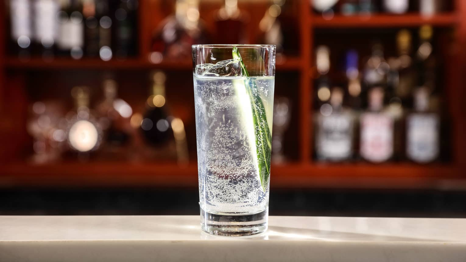 Tall glass with gin and tonic on bar