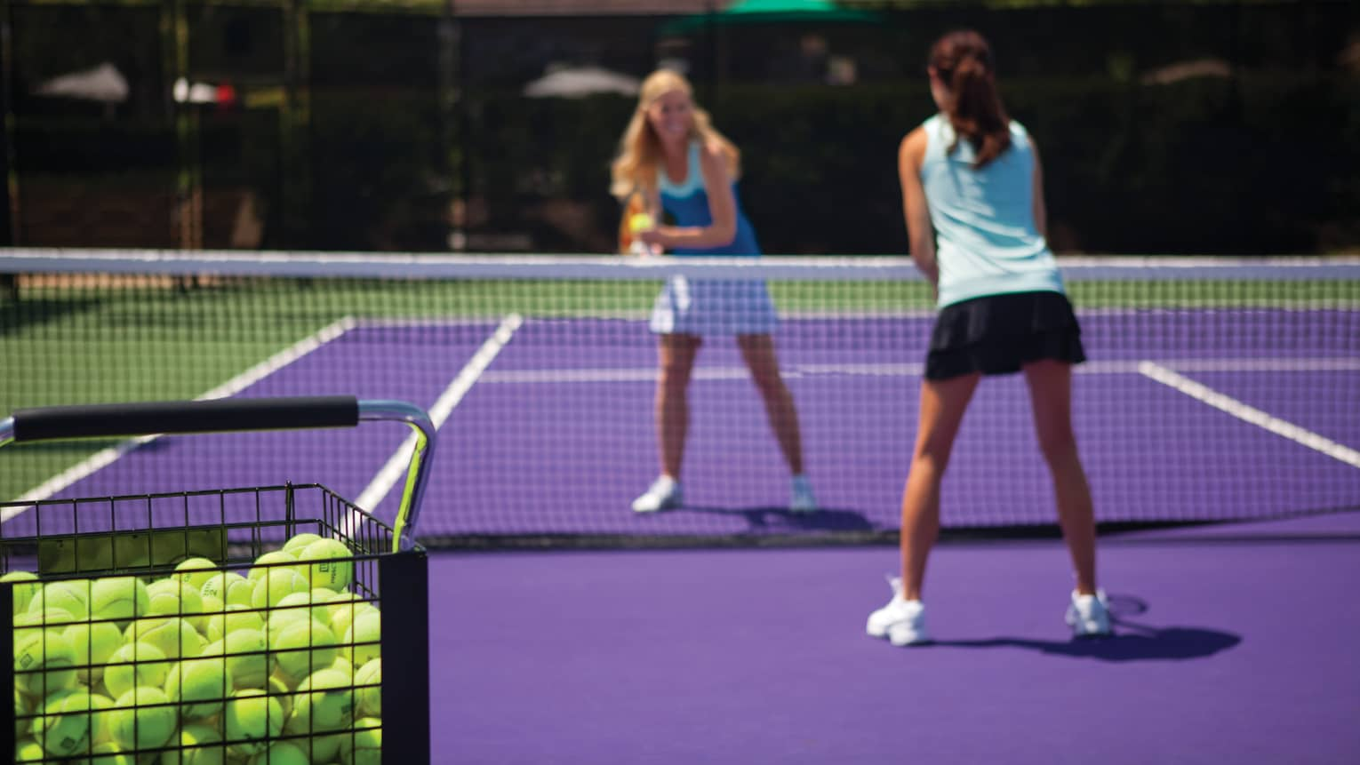 Basket of green tennis balls by purple court where two women stand on either side of net