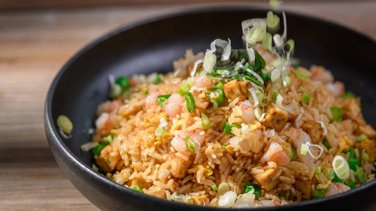 Signature fried rice with shrimp, roasted pork and chives