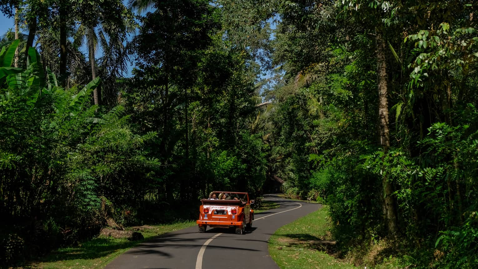 Couple driving orange Volkswagen in Bali