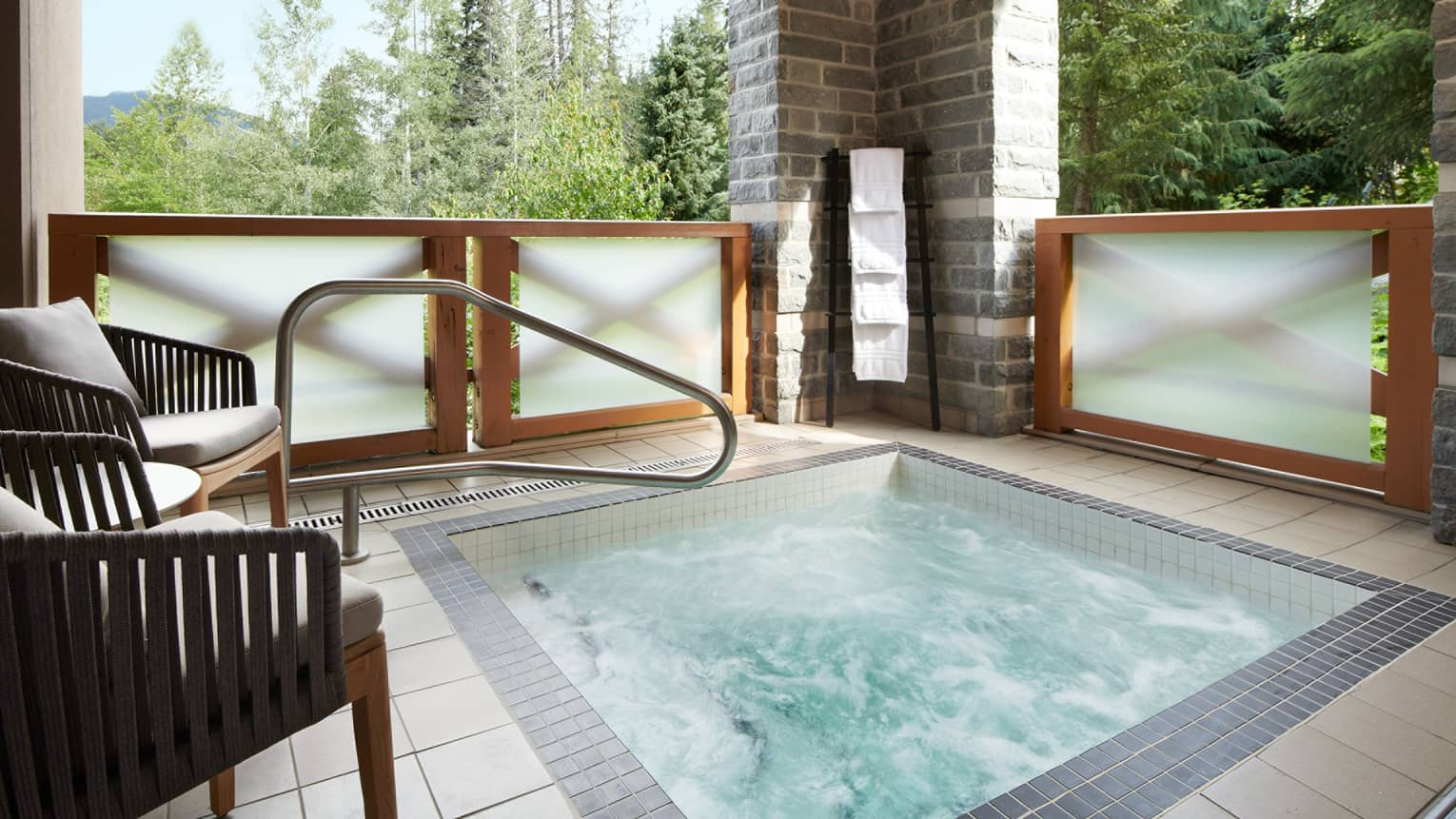Outdoor hot tub on private terrace