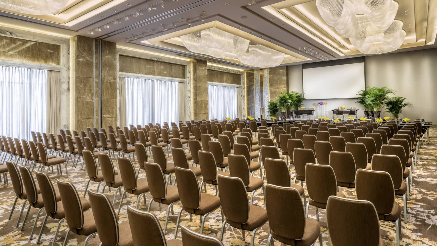 Rows of meeting chairs facing screen, potted trees in large Four Seasons Ballroom