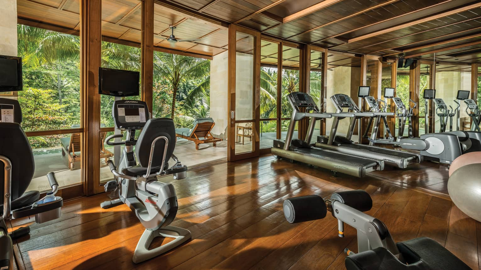 Gym equipment at a Bali resort fitness centre